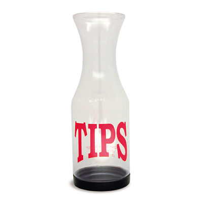 """Co-Rect Products TJ001TIPS Tip Jar, Clear Plastic, """"TIPS"""" Imprinted, Removable B"""