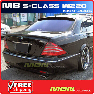 99-06 W220 S-Class AMG Stick Roof Glass Rear Spoiler Wing Lip Primer Unpainted