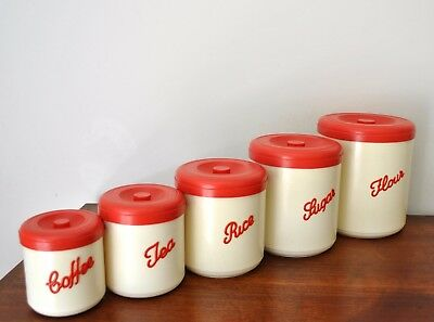 Vintage MARQUIS Aust NALLY Style Red & Cream Nesting CANISTER Set 1950's