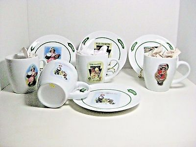 Heinz Cup And Matching Saucer With Different Pictures On Each Mug Set Of 4 Rare