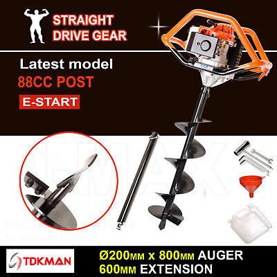 88CC TDKMAN Petrol Post Hole Digger Earth Auger 200mm Drill 600mm Ex Fence Borer