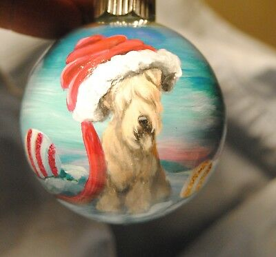 Original Painting~Wheaten Terrier~Dog~Christmas Ornament~Hand Painted~candy Art