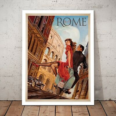 Visit Rome Vintage Tourism Travel Italy Art Poster Print - A4 to A0 Framed