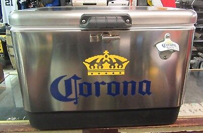 Never Used Corona Stainless Steel 54 Quart Coleman Beer Cooler wOpener Ice Chest