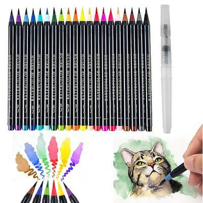 20-Colour Pens Watercolor Drawing Painting Brush Artist Sketch Manga Marker AU