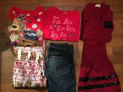 6 piece LOT of girl Christmas clothes size 10/12 - Justice, H&M, pajamas PJs