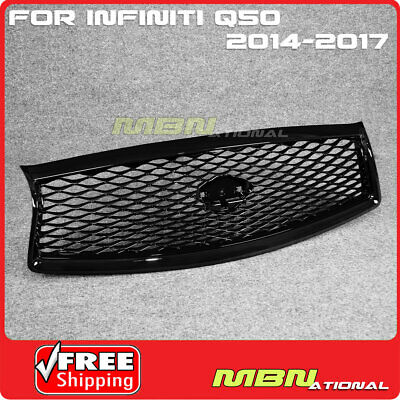 For 14-17 Infiniti Q50 Eau Rouge Style Front Hood mesh Grille Painted Black ABS