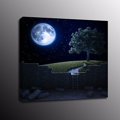 Landscape Canvas Prints Tree Night star Moon Wall Art Painting Home Decor Poster
