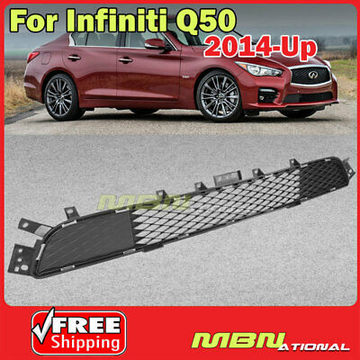 For 2014-2017 Infiniti Q50 Front Bumper Lower Mesh Center Grille OE Style Black