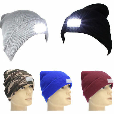 5-LED Light Cap Knit Beanie Hat with 2 Batteries Outdoor Hunting Camping Fishing