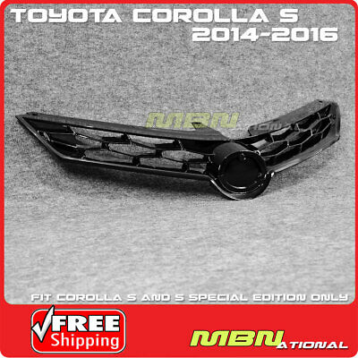 For 14-16 Toyota Corolla S E170 Front Bumper Hood Upper Grille ABS Glossy Black