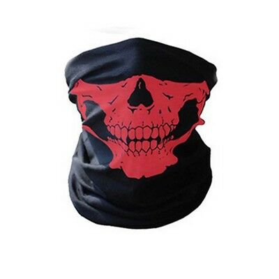 Motorcycle Outdoor Ghost Biker Skull Mask Riding Tube Face Mask Red