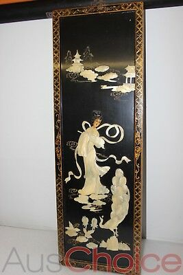 Vintage Oriental Wall Art - Carved Mother of Pearl Woman & Peacock - 32x95cm