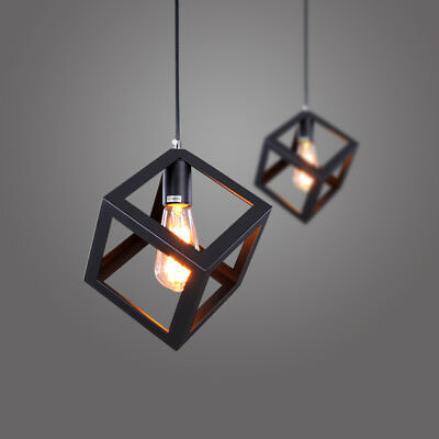 Vintage Retro Square Metal Fitting Pendant Lamp Ceiling Lights Hanging Fixtures