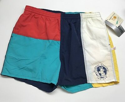 Vintage Jantzen Color Block Swim Trunks Rare Lined Size XL Global Sailing Shorts