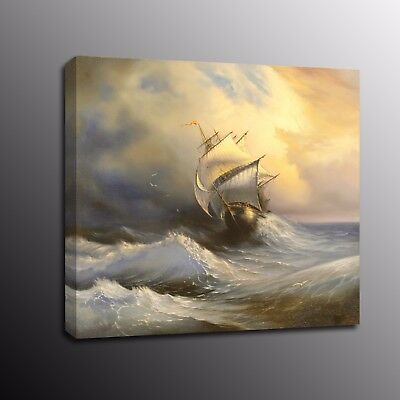 Home Decor HD Canvas Print Painting Wall Art Sailboat Sun Sea Beach Picture