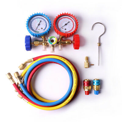 HVAC A/C Air Refrigeration AC Manifold Gauge Set Brass R12, R22, R502, R134a