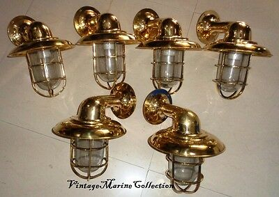 New Nautical Brass Ship Wall Passage Light With Cap - Set Of 6 Pc