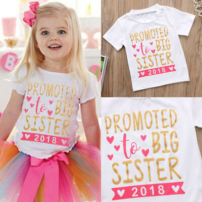Kid Baby Girl Toddler Big Sister Summer Short Sleeve T-shirt Blouse Top AU Stock
