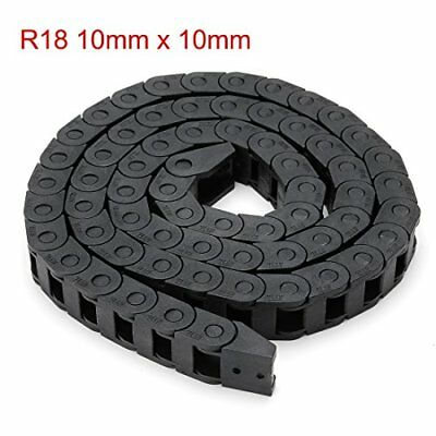 uxcell R18 10mm  Black Plastic Cable Carrier Drag Chain Wire 1M Length for CNC