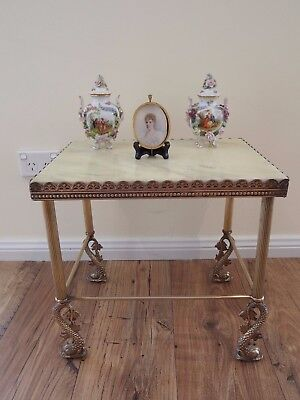 Vintage French Regency/hollywood Style Brass & Alabaster Table/lamp/koi Fish