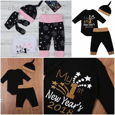 Newborn My First NEW YEAR'S 2018 Christmas Baby Girl Boy Romper Pants Hat Outfit