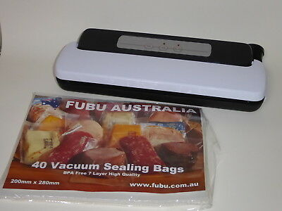 VACUUM BAG SEALER SEALING MACHINE + 40 FREE BAGS 240v