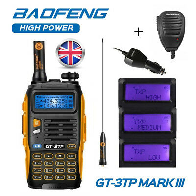 Baofeng GT-3TP MarKIII V/UHF FM Ham Tri-power 8W Walkie Talkie + Speaker UK Plug