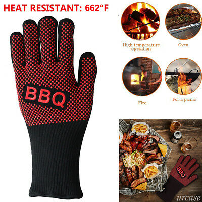 BBQ Heat Resistant Silicone Kitchen Oven Cooking Grilling Barbecue Mitt Gloves