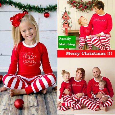 Family Christmas Pajamas Set Xmas Matching Pyjamas Mens Adult Kids Sleepwear BU