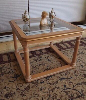 French Empire/provincial Style Glass Top Side/lamp/end/coffee Table/