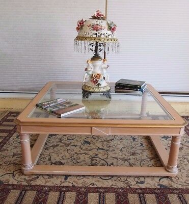 Big French Empire/regency Style Glass Top Side/lamp/end/coffee/occasional Table/