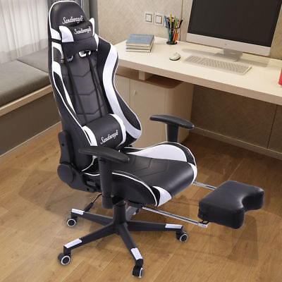 Gaming Racing Chair High Back Swivel Computer Chair w/Headrest & Lumbar Support