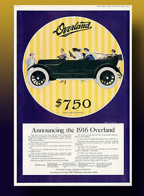Large Vintage 1915 Overland Auto Ad .Full Color, Full Page Ad.