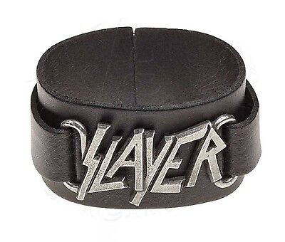 SLAYER Wrist strap Alchemy Rocks Pewter on Leather Metal Official Wristband