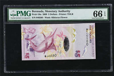 2009 Bermuda Monetary Authority 5 Dollars Pick#58a PMG 66 EPQ Gem UNC