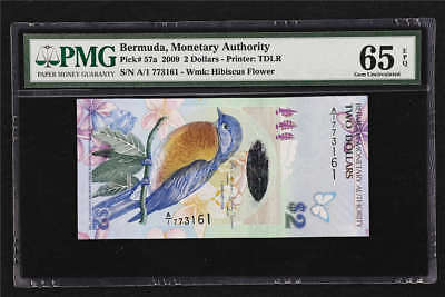 2009 Bermuda Monetary Authority 2 Dollars Pick#57a PMG 65 EPQ Gem UNC