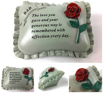 Large Red Rose Memorial Pillow Tribute Graveside Ornament Tribute Plaque