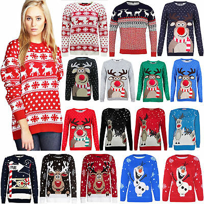 Christmas Xmas Unisex Jumper Sweater Retro Novelty Vintage Ladies Mens Size New