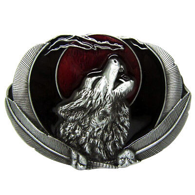 Vintage Western Cowboy Howling Wolf Belt Buckle Casual Work Antique Silver