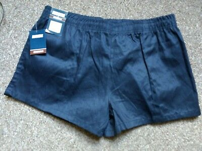 W38 Xl Stubbies Ruggers Original Cut Navy Blue Rugby Union Footy Shorts Football