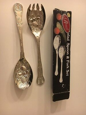 Vintage Boxed Retro Silver Plate Zinc Salad Spoon & Fork Set - Un-used Boxed