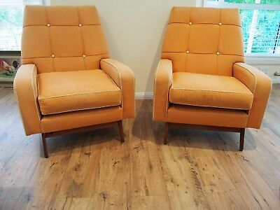 Vintage Pair of 1950's Retro Apricot Upholstered Armchairs/chairs
