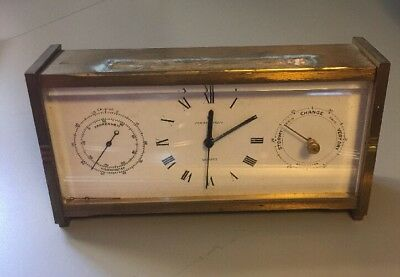 Vintage Hamilton Solid Brass Desk Clock With Thermometer & Barometer