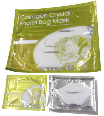 White Crystal Collagen Under Eye Mask Lip Face Facial Anti Wrinkle Ageing UK