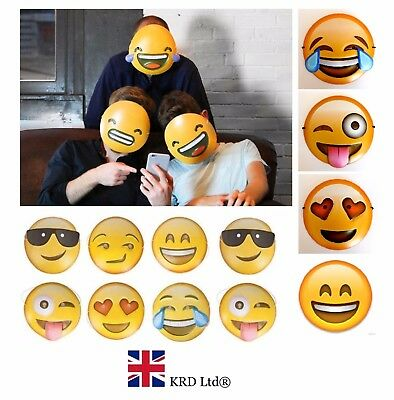 EMOJI MASKS Adults Kids Smiley Face Icons Mask Fun Photo Shoot Booth Prop Lot UK