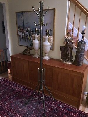 "Antique Heavy BRASS HALL TREE Coat Stand Hat Rack 71"" Hollywood Regency"