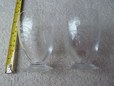 GD. CONDITION pair of crystal cut glass flower engraved glasses/vases