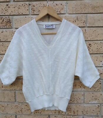VINTAGE Beautiful 50s Look Helen B Sydney 70s Knitted Top 10 Ivory Cream AS NEW