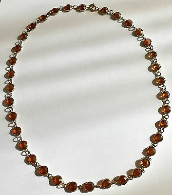 SARAH COVENTRY VINTAGE AMBER TONE CABOCHON 1970's NECKLACE